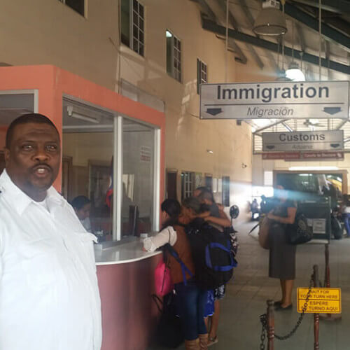 Commander of Belize - Guatemala border crossing and Immigration Officer